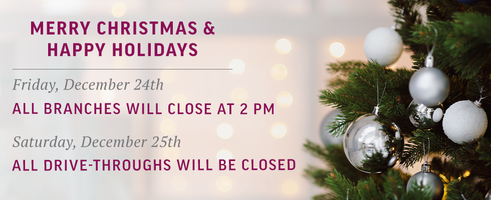 We will be closed on Christmas Day.